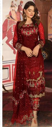 Blooming Maroon Color Georgette Sequence Embroidered Work Salwar Suit