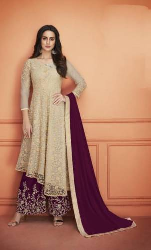 Alluring Cream Color Soft Net Embroidered Cording Work Plazo Salwar Suit