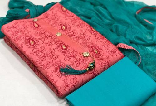 Charming Cerise Pink Color Cotton Embroidered Work Salwar Suit For Women