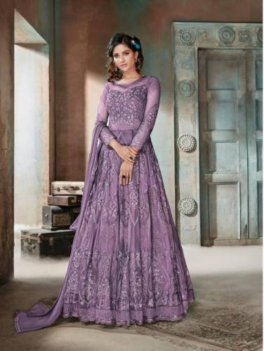 Appealing Orchid Color Heavy Net Diamond Embroidered Work Salwar Suit For Women