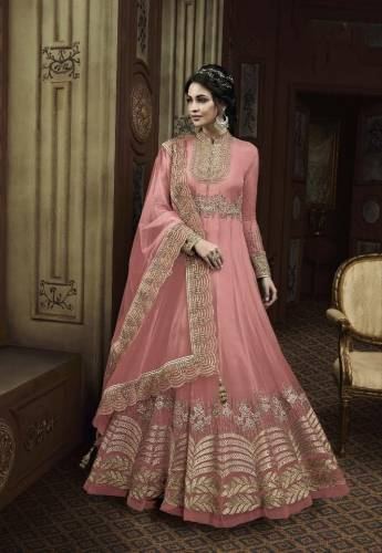 Adorning Rose Color Butterfly Net Thread Viscous Glitter Sequence Work Salwar Suit