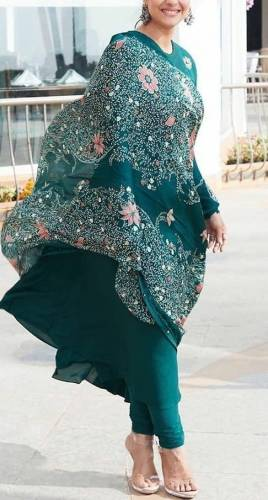 Amazing Rama Green Georgette With Digital Printed Full Stitched Gown