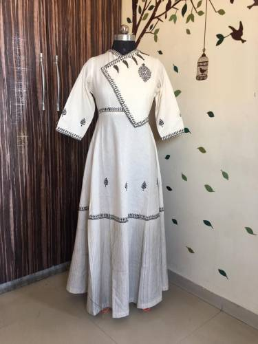 Beautiful Off White Heavy Cotton With Print Gown