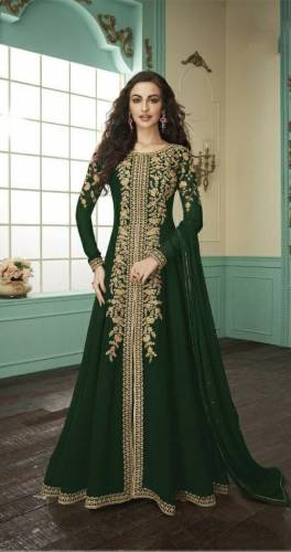Awesome Dark Green Color Party Wear Faux Georgette Codding Embroidered Work Salwar Suit For Women