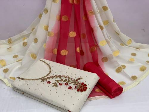 Breath-taking Off White Color Designer Khatli Hand Work Cotton Chanderi Salwar Suit For Party Wear