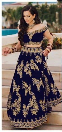 Majesty Navy Blue Color Wedding Wear Velvet Tapetta Designer Embroidered Work Lehenga Choli