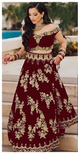 Dazzling Maroon Color Function Wear Embroidered Work Designer Tapetta Velvet Lehenga Choli For Women