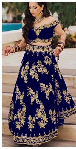 Admiring Royal Blue Color Embroidered Work Fancy Velvet Tapetta Fancy Wedding Wear Lehenga Choli