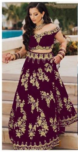 Gorgeous Wine Color Festive Wear Tapetta Velvet Designer Embroidered Work Lehenga Choli