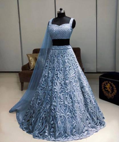 Attractive Grey Color Designer Soft Net Fancy Chain Stitch Work Lehenga Choli For Wedding Wear