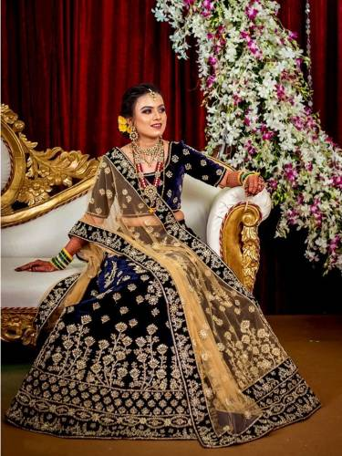 Fabulous Navy Blue Color Wedding Wear Tapetta Velvet Embroidered Work Designer Lehenga Choli