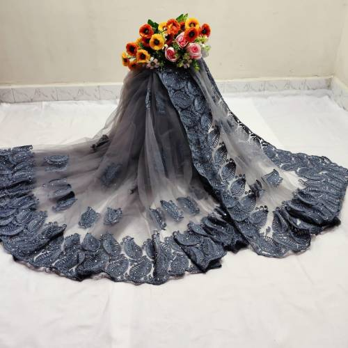 Adorable Grey Color Festive Wear Soft Mono Net Chain Stitch Hand Stone Work Saree Blouse