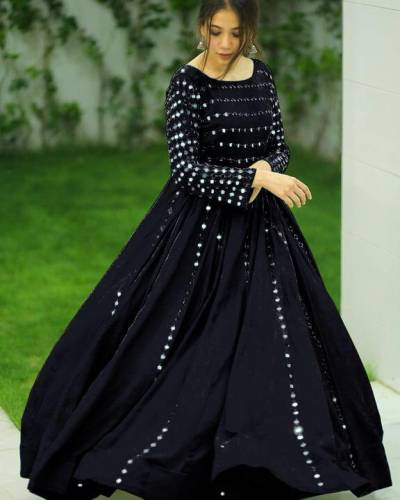 Staggering Black Color Full Stitched Georgette Embroidered Work Beautiful Wedding Wear Gown