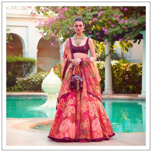 Attractive Pink Color Wedding Wear Designer Organza Digital Printed Lehenga Choli For Women