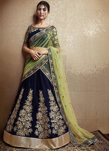 Admirable Navy Blue Color Fancy Tapetta Velvet Designer Embroidered Work Wedding Wear Lehenga Choli
