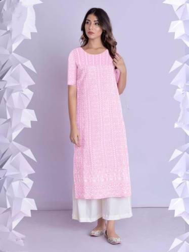 Captivation Baby Pink Color Full Stitched Cotton Rayon Fancy Thread Work Plazo Kurti For Party Wear