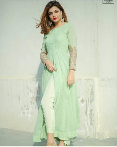 Captivating Sea Green Color Full Stitched American Silk Thread Coding Diamond Hand Work Kurti Pent For Wedding Wear