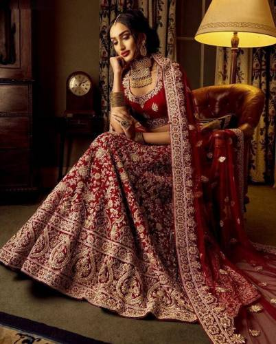 Knockout Maroon Color Designer Wedding Wear Velvet Coding Embroidered Work Lehenga Choli