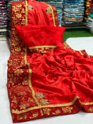 Remarkable Red Color Occasion Wear Dola Silk Hand Work Jacquard Beautiful Border Saree Blouse For Ladies