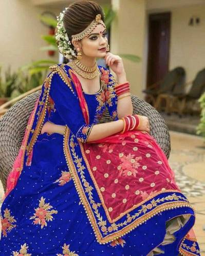 Astonishing Royal Blue Color Function Wear Designer Tapeta Velvet Machine Diamond Embroidered Work Lehenga Choli