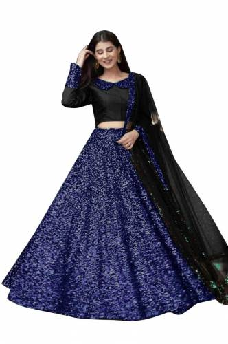 Adorable Dark Blue Color Function Wear Velvet Designer Sequence Work Lehenga Choli