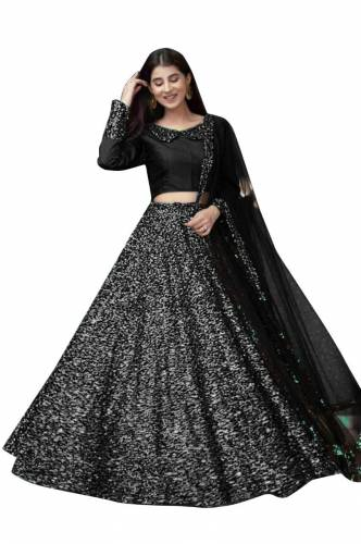 Exceptional Black Color Party Wear Velvet Sequence Fancy Work Lehenga Choli For Women