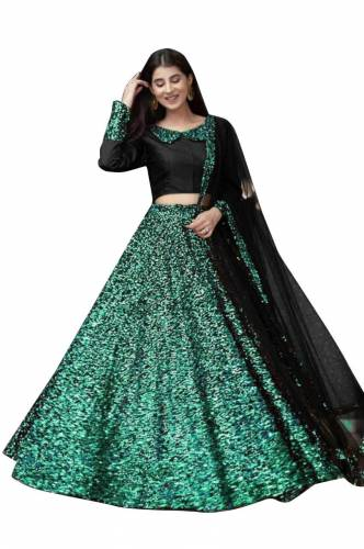 Sizzling Sea Green Color Occasion Wear Designer Sequence Work Velvet Beautiful Lehenga Choli