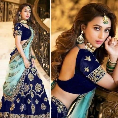 Adorable Navy Blue Color Beautiful Embroidered Work Tapeta Velvet Lehenga Choli For Function Wear