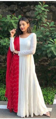 Adorable White Color Wedding Wear Full Sequence Chine Stitch Work Designer Georgette Semi Stitched Salwar Suit