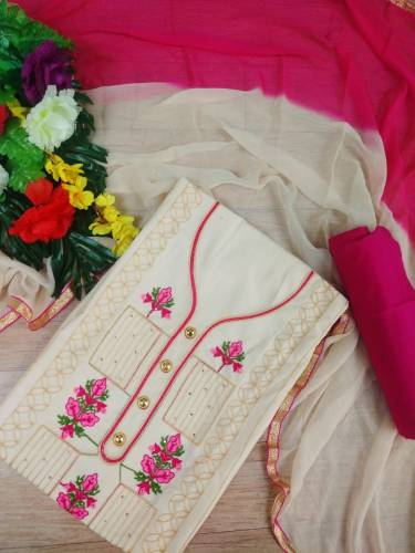 Admirable Pink Color Festive Wear Embroidered Work Indo Cotton Fancy Semi Stitched Salwar Suit