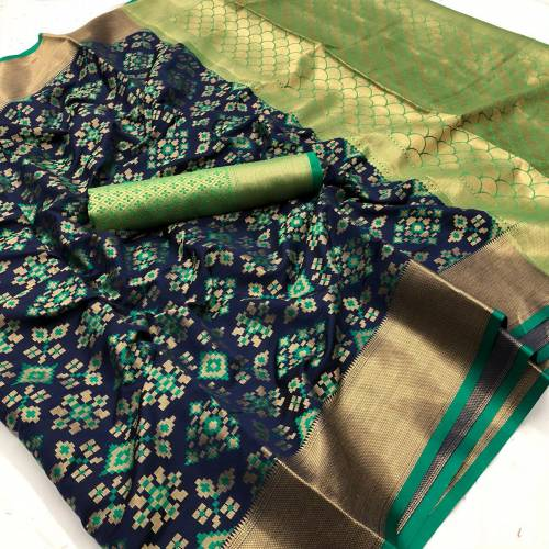 Adorable Green Patola Silk Weaving Jacquard Saree