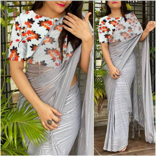 Grey Color Weightless Saree with Printed Blouse For Function Wear
