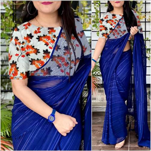 Splendid Blue Color Weightless Saree with Printed Blouse For Regular Wear
