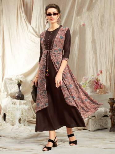Chocolate Colored Rayon Kurti With Georgette Diamond Jacket For Women Kurti VT2123111C