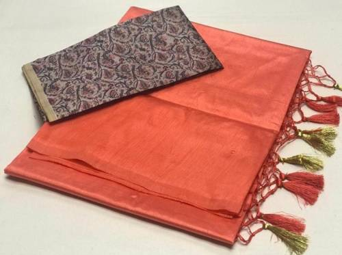 Adorable Orange Color Festive Wear Sana silk Saree with Digital Print Blouse