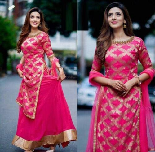 Pink Color Rayon Print Kurta with Lehenga Design Online Shopping