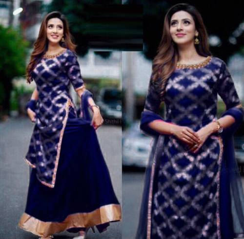 Navy Blue Color Rayon Print Kurta Lehenga Design Online