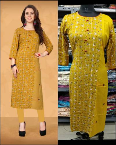 Winsome Yellow  Printed Long Rayon Kurti For Regular Use With Fancy button