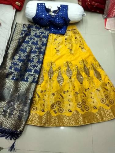 Blue Yellow Silk Lehnga Choli