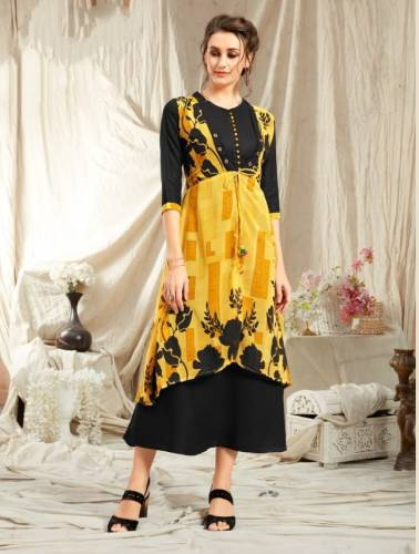 Beautiful Yellow Color Georgette Diamond Jacket With Rayon Kurti VT2123111D