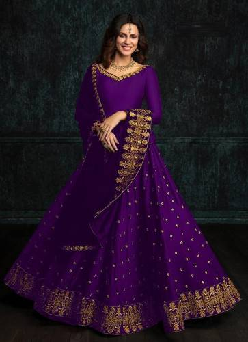 Attractive Purple Color Traditional wear Tapeta Silk with Embroidery Lehenga