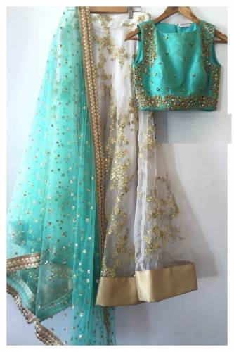 Attractive White  Colour Net  Embroidered Lehenga