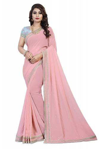 Awesome Pink Color Georgette Embroidered Saree Design Online