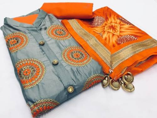Gray Color Cotton Satin Embroidered Work Salwar Suit With Orange Dupatta