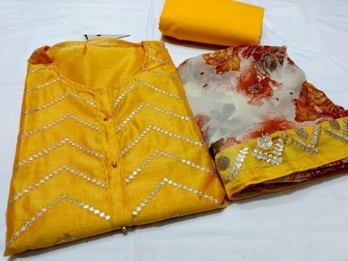 Yellow Colour Special Modal Silk Embroidered Dress Material For Women