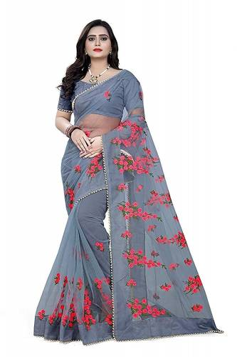 a Indian Wear  Gray Net Embroidered Work Saree