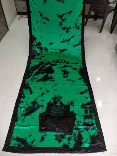 Green Color Gajji Silk Printed Saree with Readymade Net Sequence work Blouse