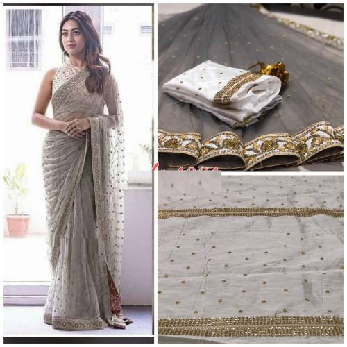 Alluring Grey Colour Net Embroidered Saree with blouse For Women