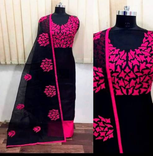 Black Color Chanderi silk Embroidered Dress material For Women