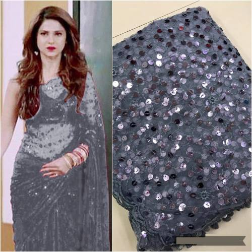 Gray Colored Soft Net Function Wear Heavy Embrodery  Sequence Work  Saree For Women